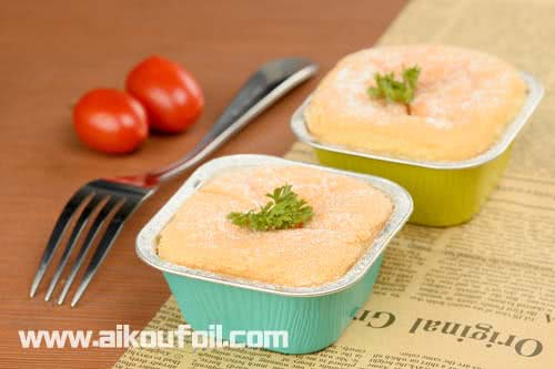 Mini square cheese cake baking Alu37