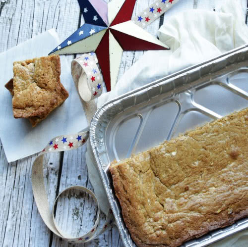 Foil Container Baking --- White Chocolate Blondies with Walnuts